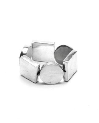 Bracciale 3 tondi e 3 quadri elastico in alluminio riciclato 100%, Anallergico e inossidabile. Pois Nero Ladispoli