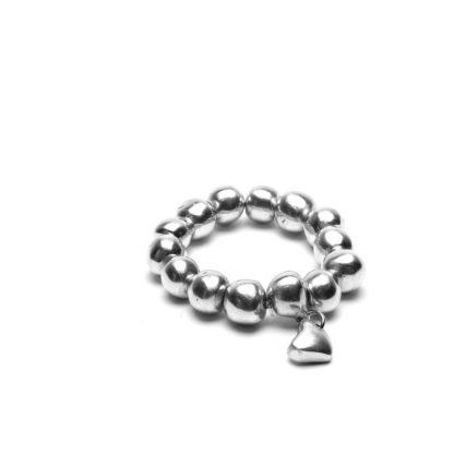 Bracciale elastico Sfere e Cuore by Vestopazzo in alluminio riciclato.
