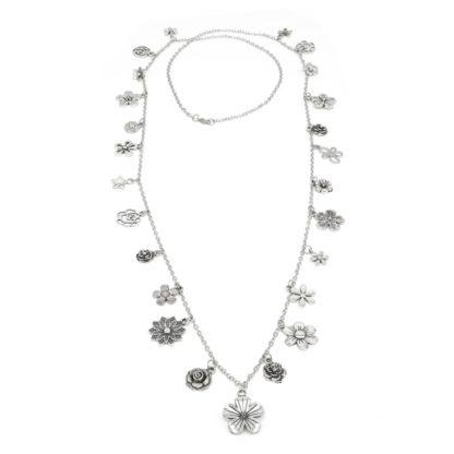Collana con ciondoli a fiori Pois Nero Ladispoli