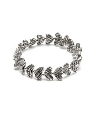 Bracciale elastico cuori incisi, bagnato in argento metallo bagnato in argento nickel tested, by Vestopazzo