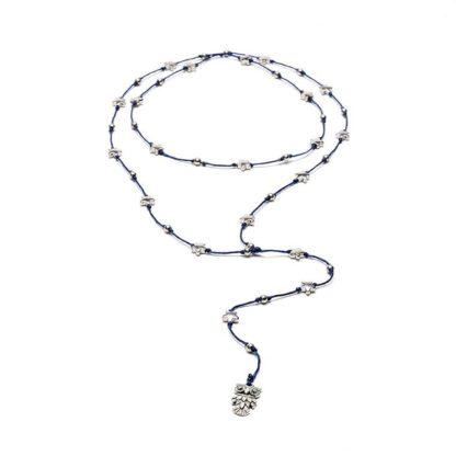 """rosario r con elementi stelle e ciondolo """"gufo"""", bagnato in argent"""