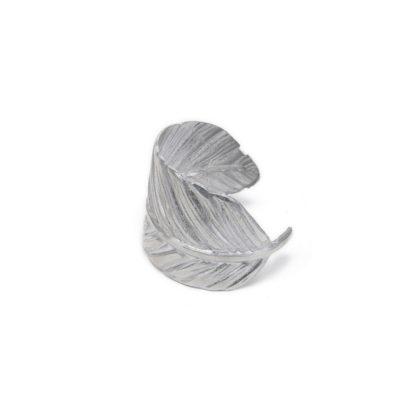 Bracciale rigido piuma, realizzato in 100% alluminio riciclato. Pois Nero - Ladispoli