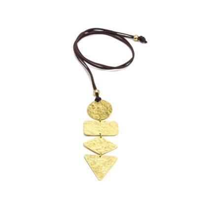Collana regolabile con pendente cascata di figure geometriche. Bigiotteria in ottone.