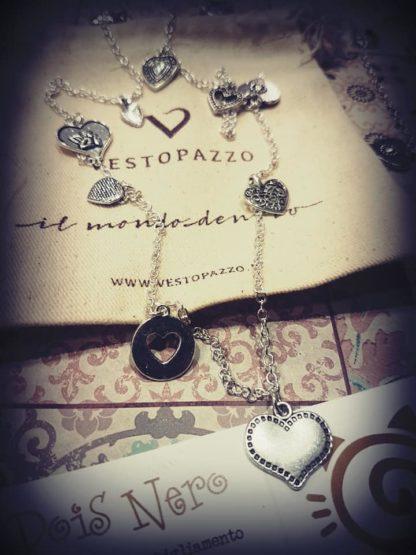 collana ciondoli a cuore bagno argento - Pois Nero Ladispoli www.poisnero.t