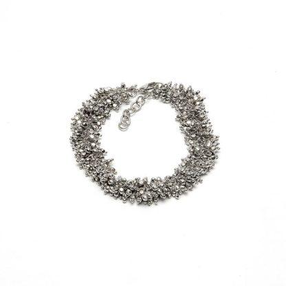 Bracciale mogra  by Vestopazzo bagno in argento, nichel free, anallergico. Pois Nero Ladispoli