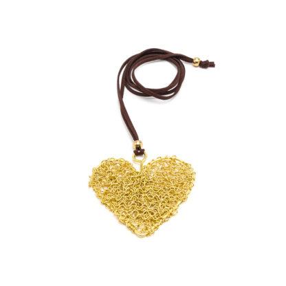 Pendente cuore microfilo in ottone by Vesto Pazzo. Solo da Pois Nero Ladispoli