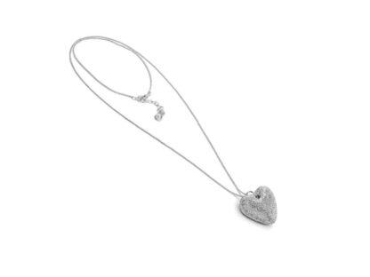 Collana lunga con Cuore alluminio diamantato, no nichel.