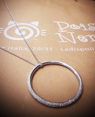 Pendente catena Cerchio by Vestopazzo in alluminio riciclato diamantato - Bigiotteria Pois Nero Ladispoli - www.poisnero.it
