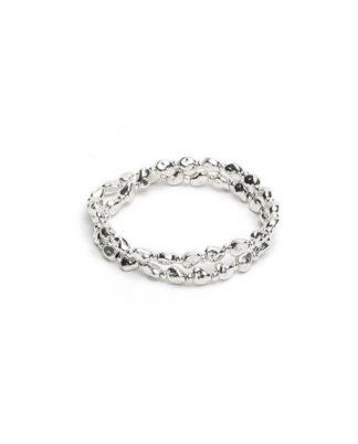 Bracciale elastico 2 giri mini pepite, bagnato in argento metallo bagnato in argento nickel tested, by Vestopazzo