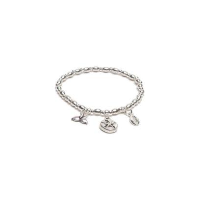 Bracciale elastico con pendenti marini by Vestopazzo bagno in argento, nichel free, anallergico.