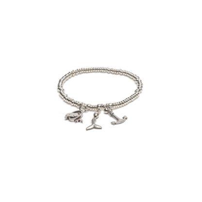 Bracciale elastico rondelle e pendenti marini by Vestopazzo bagno in argento, nichel free, anallergico.Pois Nero Ladispoli
