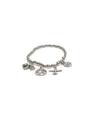 Bracciale elastico pendenti viaggio by Vestopazzo bagno in argento, nichel free, anallergico.Pois Nero Ladispoli