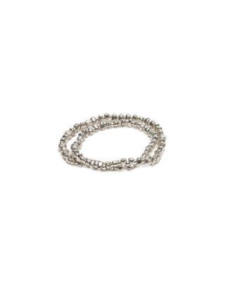 Bracciale elastico 2 giri mini sfere/ciottoli by Vestopazzo bagno in argento, nichel free, anallergico. Pois Nero Ladispoli