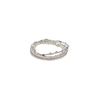 Bracciale elastico 3 giri stelle/sfere/rondelle by Vestopazzo bagno in argento, nichel free, anallergico. Pois Nero Ladispoli