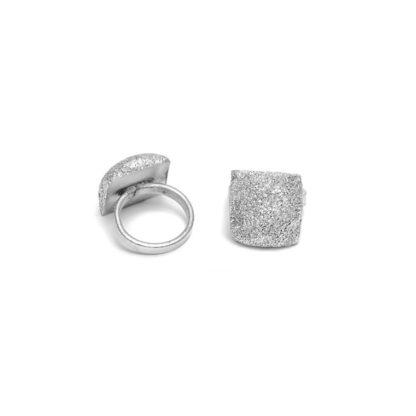 anello semicubo by Vestopazzo n alluminio riciclato diamantato - Bigiotteria Pois Nero Ladispoli - www.poisnero.it