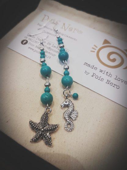 Orecchini turchese con ciondoli stella marina e cavalulccio marino anallergico, nichel free by Pois Nero Ladispoli