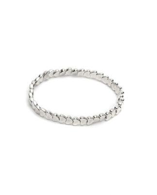 Bracciale elastico fila di cuori by Vestopazzo con elementi placcati argento e nichel tested - Bigiotteria Pois Nero Ladispoli
