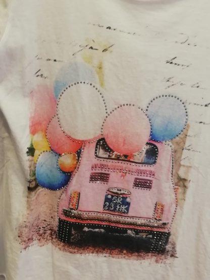T-Shirt vecchia Fiat 500, cotone 100% Taglia unica - Pois Nero Ladispoli - La T-Shirt dell'estate