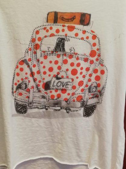 T-Shirt auto, cotone 100% Taglia unica - Pois Nero Ladispoli - La T-Shirt dell'estate