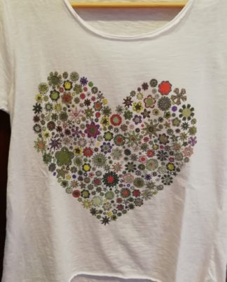 T-Shirt Cuori, cotone 100% Taglia unica - Pois Nero Ladispoli - La T-Shirt dell'estate