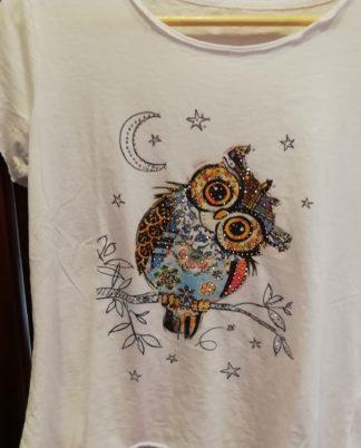 T-Shirt Gufo, cotone 100% Taglia unica - Pois Nero Ladispoli - La T-Shirt dell'estate