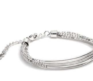 Bracciale barre fine 5 fili by Vestopazzo. Bigiotteria placcata in argento, nickel tested.