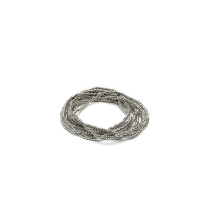 Bracciale elastico 1 filo microrondelle by Vestopazzo. Bigiotteria placcata in argento, nickel tested.