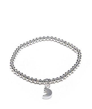 Bracciale elastico ciondolo Luna by Vestopazzo. Bigiotteria placcata in argento, nickel tested.