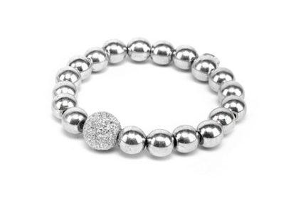 Bracciale elastico sfere by Vestopazzo in Alluminio diamantato. Pois Nero Ladispoli - www.poisnero.it