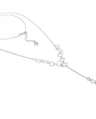 Collana ad Y con stelle by Vestopazzo. Bigiotteria placcata in argento, nickel tested.
