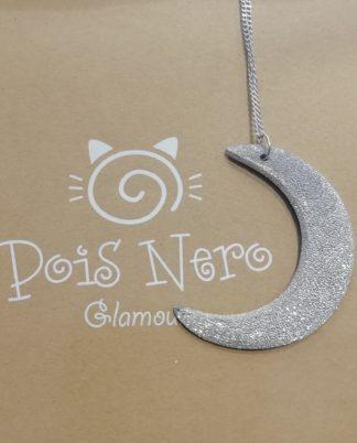 Collana Luna grande by Vestopazzo in Alluminio diamantato. Pois Nero Ladispoli - www.poisnero.
