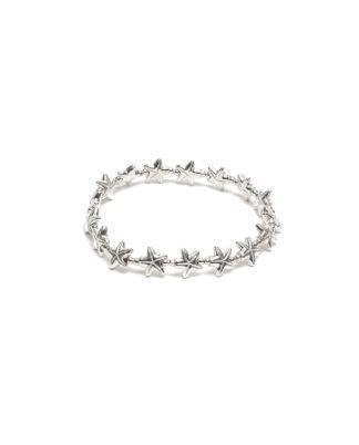 Bracciale elastico stella marina incisa by Vestopazzo bagno in argento, nichel free, anallergico. Pois Nero Ladispoli