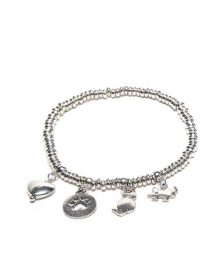 Bracciale elastico con 4 ciondoli mix gatto by Vestopazzo. Bigiotteria placcata in argento, nickel tested.