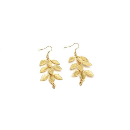 Orecchini foglie Bigiotteria in ottone, nickel tested. Pois Nero Ladispoli