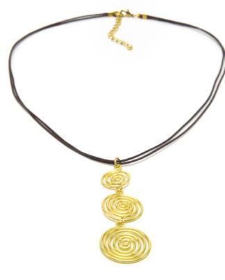 Pendente 3 spirali in ottone by Vesto Pazzo, la trovi da Pois Nero Ladispoli o su www.poisnero.it