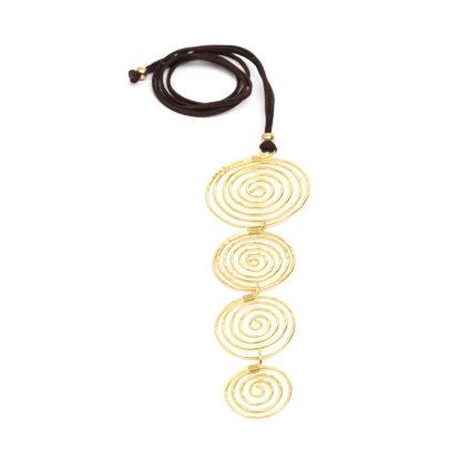 Pendente 4 spirali in ottone by Vesto Pazzo, la trovi da Pois Nero Ladispoli o su www.poisnero.it