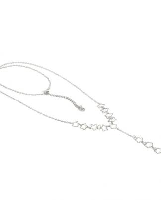 Collana catena ad Y con stelle traforate. Chiusura regolabile con moschettone.
