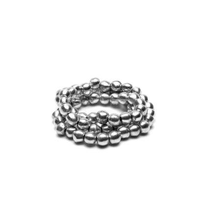Bracciale Sfere 3 giri elastico in alluminio riciclato 100%, Anallergico e inossidabile. Pois Nero Ladispoli