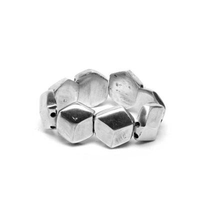 Bracciale cubi ed esagono elastico in alluminio riciclato 100%, Anallergico e inossidabile. Pois Nero Ladispoli