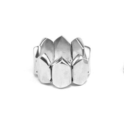 Bracciale elementi Prisma grande elastico in alluminio riciclato 100%, Anallergico e inossidabile. Pois Nero Ladispoli