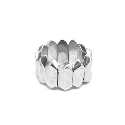 Bracciale elementi Prisma piccolo elastico in alluminio riciclato 100%, Anallergico e inossidabile. Pois Nero Ladispoli