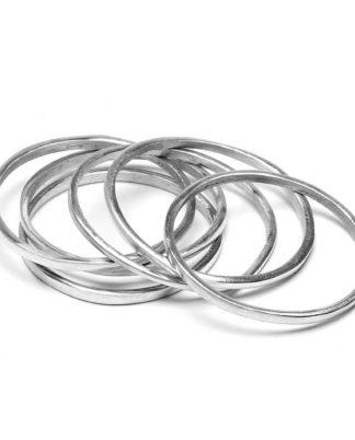 Bracciali tondi 6 pezzi o in alluminio riciclato 100%, Anallergico e inossidabile. Pois Nero Ladispoli