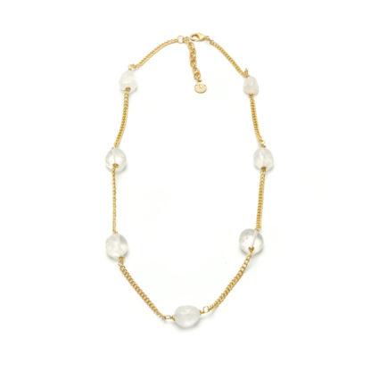 Collana ottone e cristallo di rocca, Pois Nero Natural Ladispoli