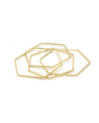 Set di 4 bracciali rigidi di forma esagonale. Bigiotteria in ottone.