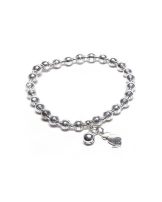 Bracciale elastico pendenti gatto. Bagno in argento