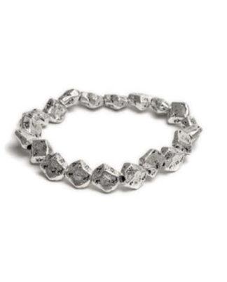 Bracciale elastico pepite grandi by Vestopazzo. Lega di zinco placcata argento