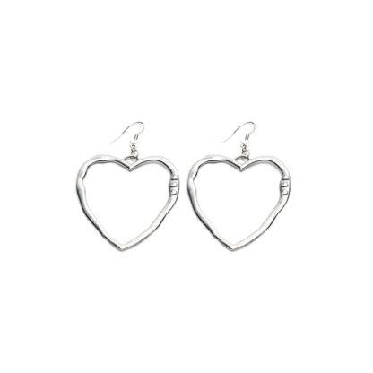 Orecchini cuore. Bigiotteria placcata in argento, gancio ipoallergenico, nickel tested