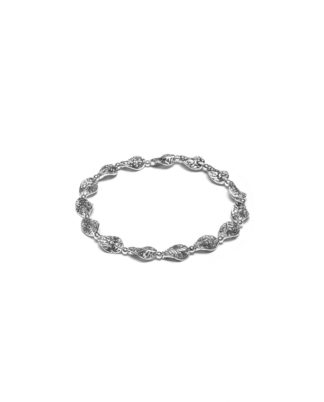 Bracciale elastico foglie irregolari placcato in argento, nickel tested.