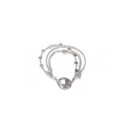 Bracciale 3 fili mix Cuori placcato in argento, nickel tested