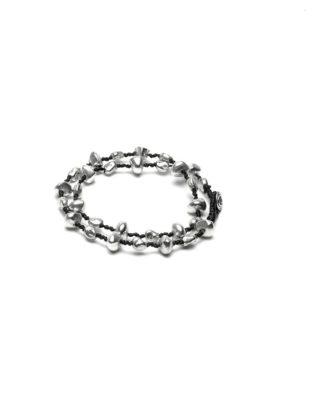 Bracciale due giri realizzato in cotone cerato con elementi pepite ,bagnato in argento,nickel tested